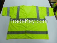 HI-VIZ safety vest with short sleeve with 4 pockets, closed with zipper