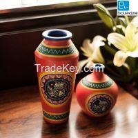 ExclusiveLane Madhubani Handpainted Terracotta Vase Set In Bright Orange