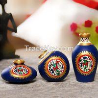 ExclusiveLane Terracotta Warli Handpainted Pots Red Set Of 2