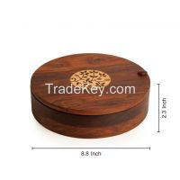 ExclusiveLane Sheesham Wood Spice Box With Floral Work