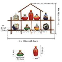 ExclusiveLane 9 Terracotta Warli Handpainted Pots With Sheesham Wooden Hut Frame Wall Hanging
