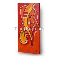 ExclusiveLane Lord Ganesha Hand Painted Key Holder Orange