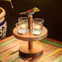 "ExclusiveLane ""Bird Collection"" Circular Tea Light Holder Sheesham Wood"