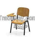 wooden  chair  with  writing  tablet  and  basket