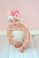Baby Blue Cotton Hats with Pale Pink Large Peony