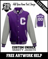 Men ladies youth customised with logo varsity jacket printed