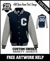 custom printed Letterman varsity jackets sweatshirts add your logo or image