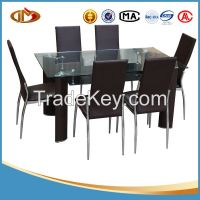 European style PU dining room set-glass dining table and PU chair