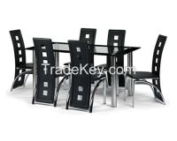 6+1 Modern tempered glass dining table and chair