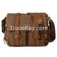 stock fashion canvas and genuine leather messenger bag for men