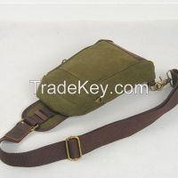 2014 good quality canvas and genuine leather unisex chest/waist bags