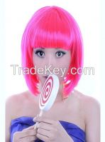 Color Bob wig Purple short straight hair inclined bang ball head