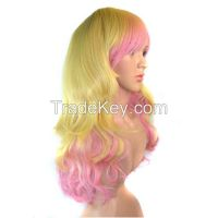The new women's curly hair Waves fluffy color gradient wig Anime wigs