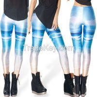 2014 new digital printing nine points leggings female galaxy leggings