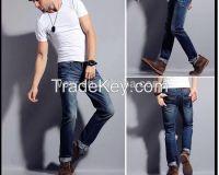 2014 men latest design denim jeans pants casual elastic blue wholesale price cheap jeans custom high quality wash fancy boys