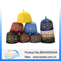 High quality 100% wool felt muslim embroidery prayer hat in stock