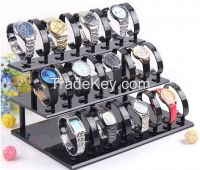 Removable 3-Tier Watch Stand Holder Acrylic Black Watch Jewelry Display Stand Rack With 24 Watch Frame