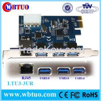 PCIE to 3port usb3.0 with RJ45 female 10GB lan ethetnet converter card