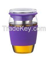 glass tea cup coffee mug with silicone sleeve JMHG030B