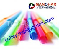 Disposable plastic cutlery , Spoon , fork , knife , Drinking straw