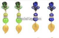 2014Latest Fashion Hot Sale New Design Dangle Resin Crystal Earrings F
