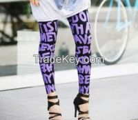alphabet printing skinny leggings
