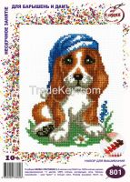 Basset - Cross Stitch Kit with Water Soluble Color Scheme Printed on Canvas