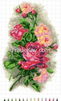 Red Roses - Cross Stitch Kit with Water Soluble Color Scheme Printed on Canvas