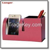 leatherette stationery set pen holder with phone holder
