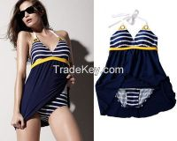 New Sexy navy wind stripe plus size Padded swimwear women one piece swimsuit Beachwear Padded Halter Skirt Blue