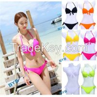 2014 New Chic bikini women Push up neon color Swimwear bowknot Padded Bathing suit bow solid color Swimsuit Beach wear dress