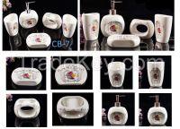 Pure white ceramic soap and lotion dispenser