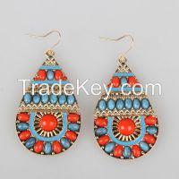 Fashion Women Newest Multi Color Rhinestone Charming Statement Clip Earrings Wholesale