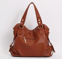 PU Leather Top handle Shoulder Bag with Genuine Leather Tassel