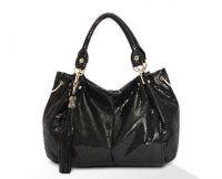 Snake PU Leather Top handle Shoulder Bag with Tassel