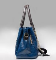 Stone Grain Waxy PU Leather Top handle Shoulder Bag with cow leather dangle