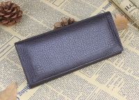 Lichee Pattern Tri-fold Leather long case with mirror
