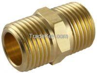 Hex Nipple / machined threaded brass