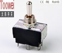 DPDT Toggle switch ON-OFF-ON latching 12mm 10A 250V T6023U