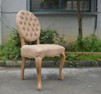 French Round Back Chair Accent Hotel Round Button Tufted Oak Wood Chair for sale