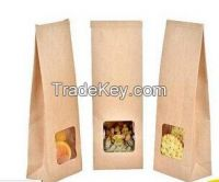 stand up food paper packaging bag with window