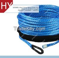 black Soft Eyelet Sleeve Blue Color Synthetic Winch Rope