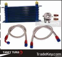 10 Rows Oil Cooler Kit M20XP1.5 3/4X16 UNF Oil Filter Fitting Adapter