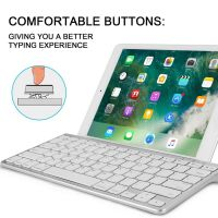 Ultra Slim Sliding Stand Universal Wireless Bluetooth Keyboard Compatible Apple iOS iPad Pro Mini Air iPhone, Android Galaxy Tab Smartphones, Windows PC