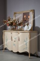Leaf Pattern White Dining Room Buffet Cabinet