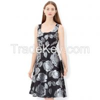 New Style of Jacquard Print Dress with A Fitted Waist Belt, Made of 90%