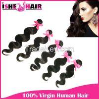 Hot Fashion Popular Brazilian Virgin Human Hair Extensions Body Wave 1pc 2pc 3pcs lot  1B Weave Beauty US Free Shipping
