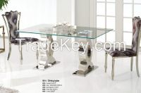 Rectangle reinforced glass surface stainless steel dining table