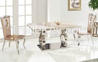 Rectangle marble surface stainless steel dining table