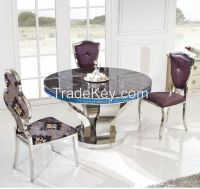 Round marble surface stainless steel dining table